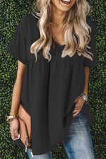 Casual Solid  V Neck Short Sleeves Blouse