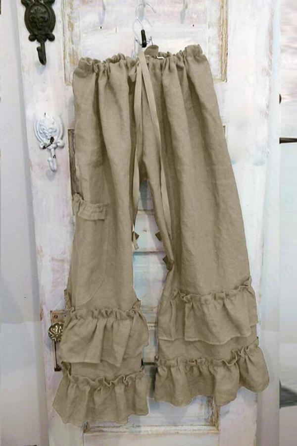 Casual Linen Ruffled Self-tie Pants