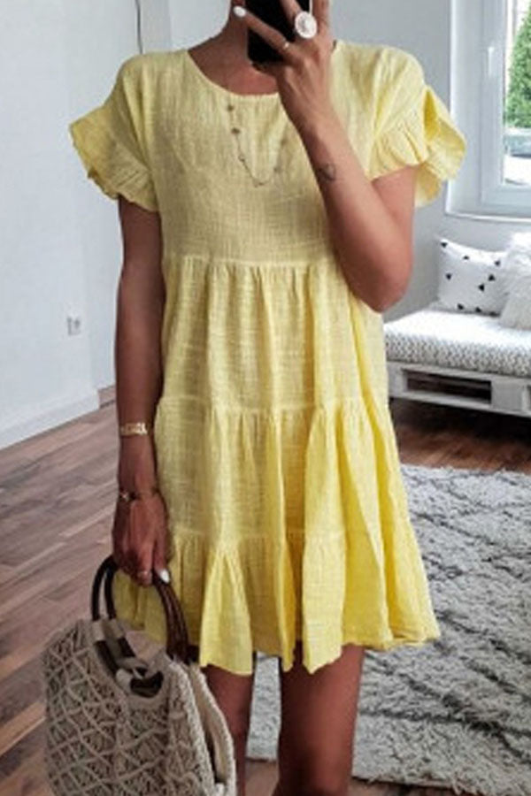 Solid Casual Round Short Sleeves Midi Dress