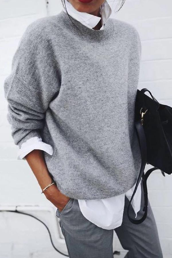 Casual Solid Crew Neck Long Sleeves Sweater