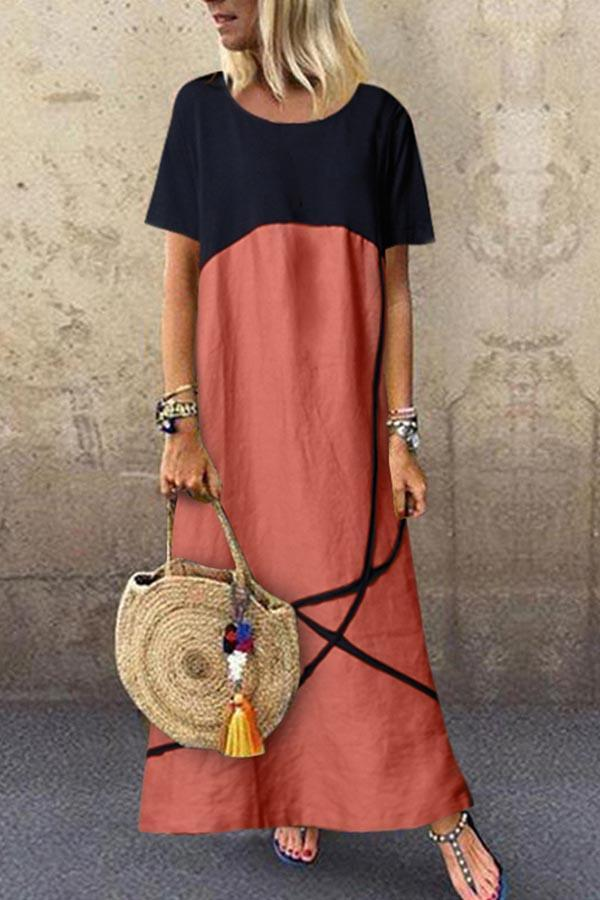 Paneled Color-block Pockets Casual Maxi Dress