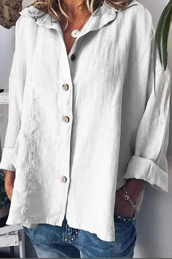 Linen Long Sleeves Shirt Collar Blouses