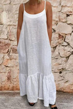 Paneled Solid Sling Backless Casual Maxi Dress