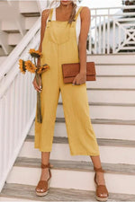 Spaghetti Pockets Front Solid Jumpsuit