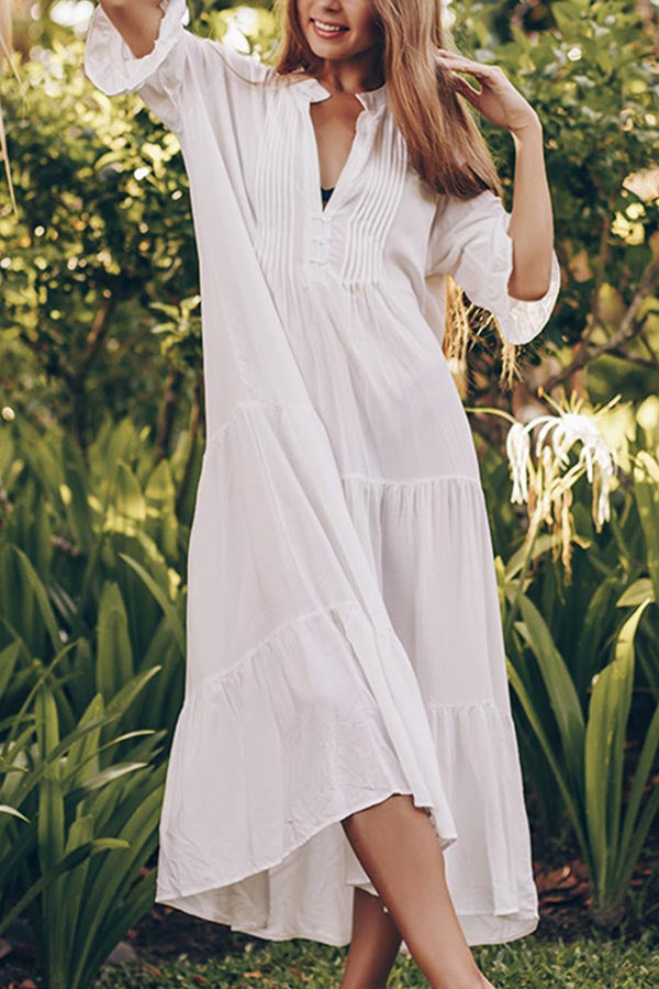 Casual Solid Button Half Sleeves Maxi Dress