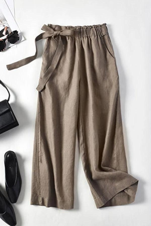 Self-tie Solid Linen Loose Pants