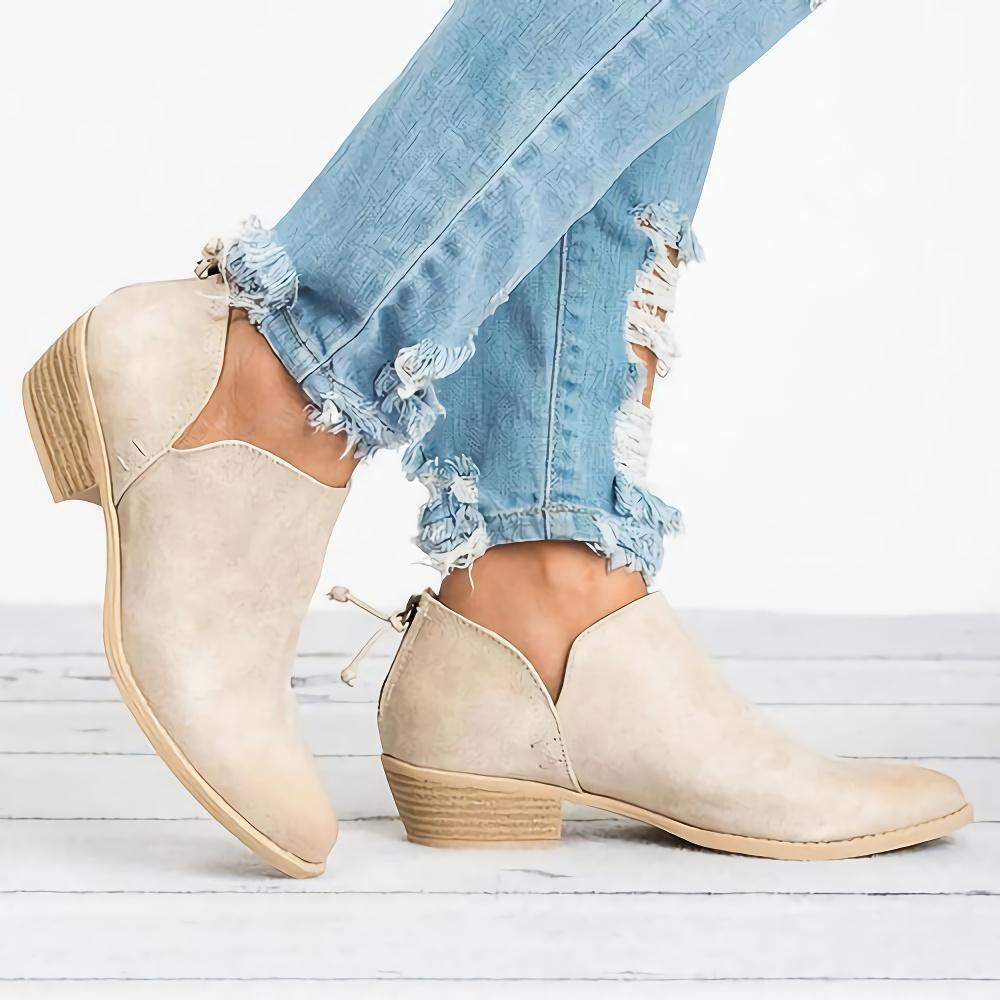 Solid Round Toe Back Zipper Ankle Boots