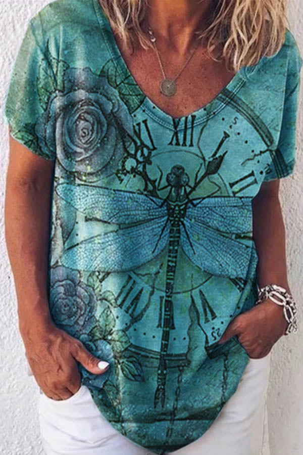 Vintage Dragonfly Rose Clock Print Paneled V-neck Short Sleeves T-shirt