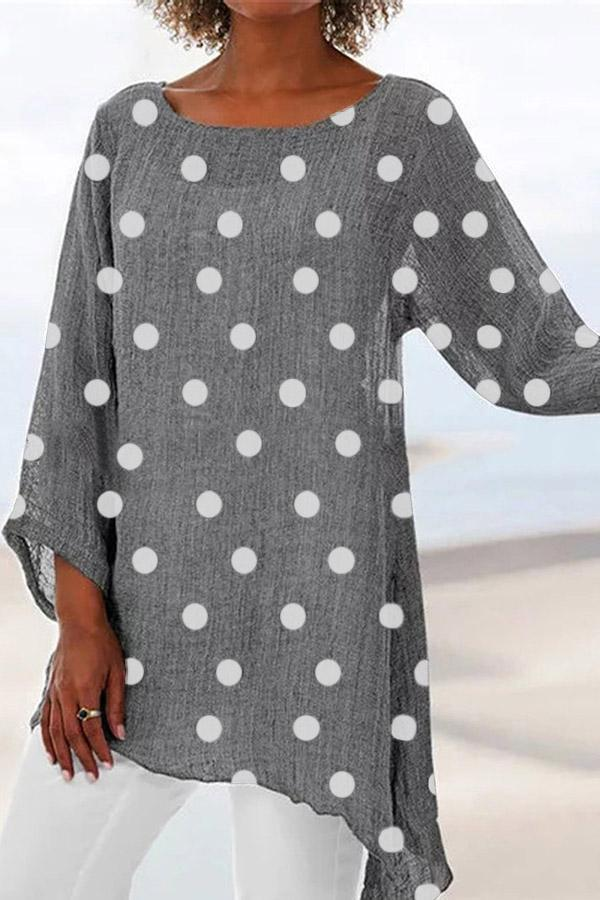 Polka Dot Irregular Casual T-shirt