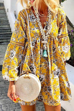 Bohemian Floral Print Paneled V-neck Mini Dress