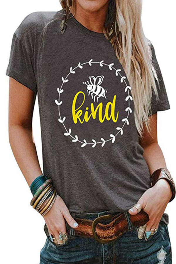 Casual Bee Letter Print T-shirt