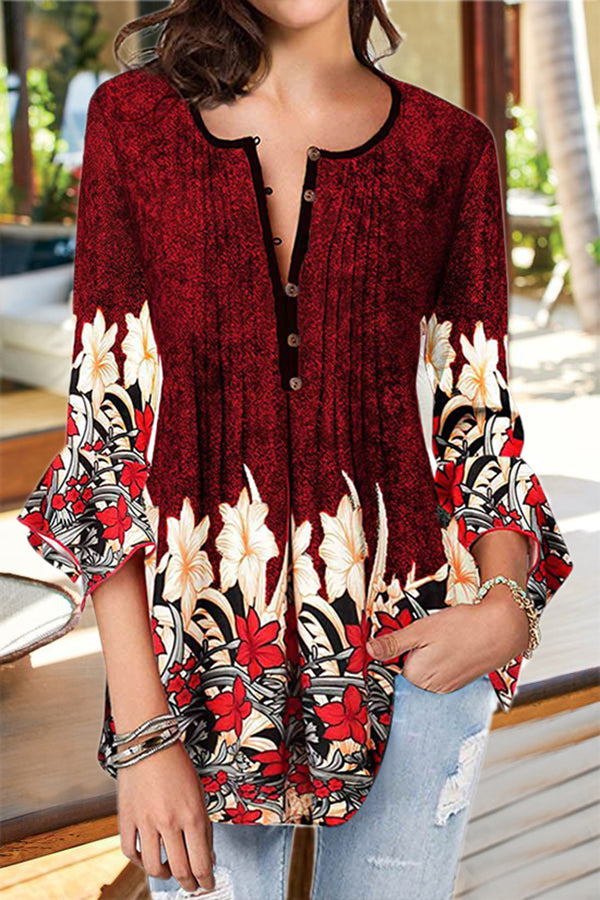 Vintage Paneled Floral Print Pleated Buttoned Bell Sleeves Blouse