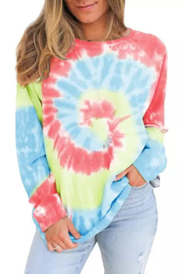 Casual Gradient Print Paneled Long Sleeves Crew Neck Sweatshirt