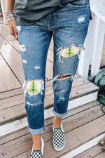 Street Fashion Cutout Gradient Dragonfly Christmas Tree Print Jeans