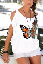 Butterfly Print Cold Shoulder Cutout Paneled Casual T-shirt