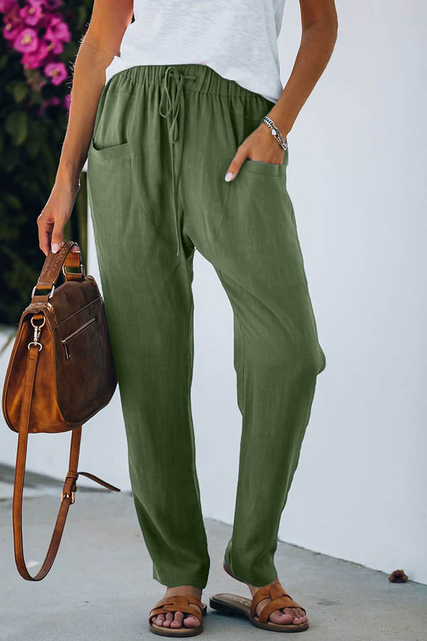 Casual Solid Self-tie Paneled Side Pockets Pants