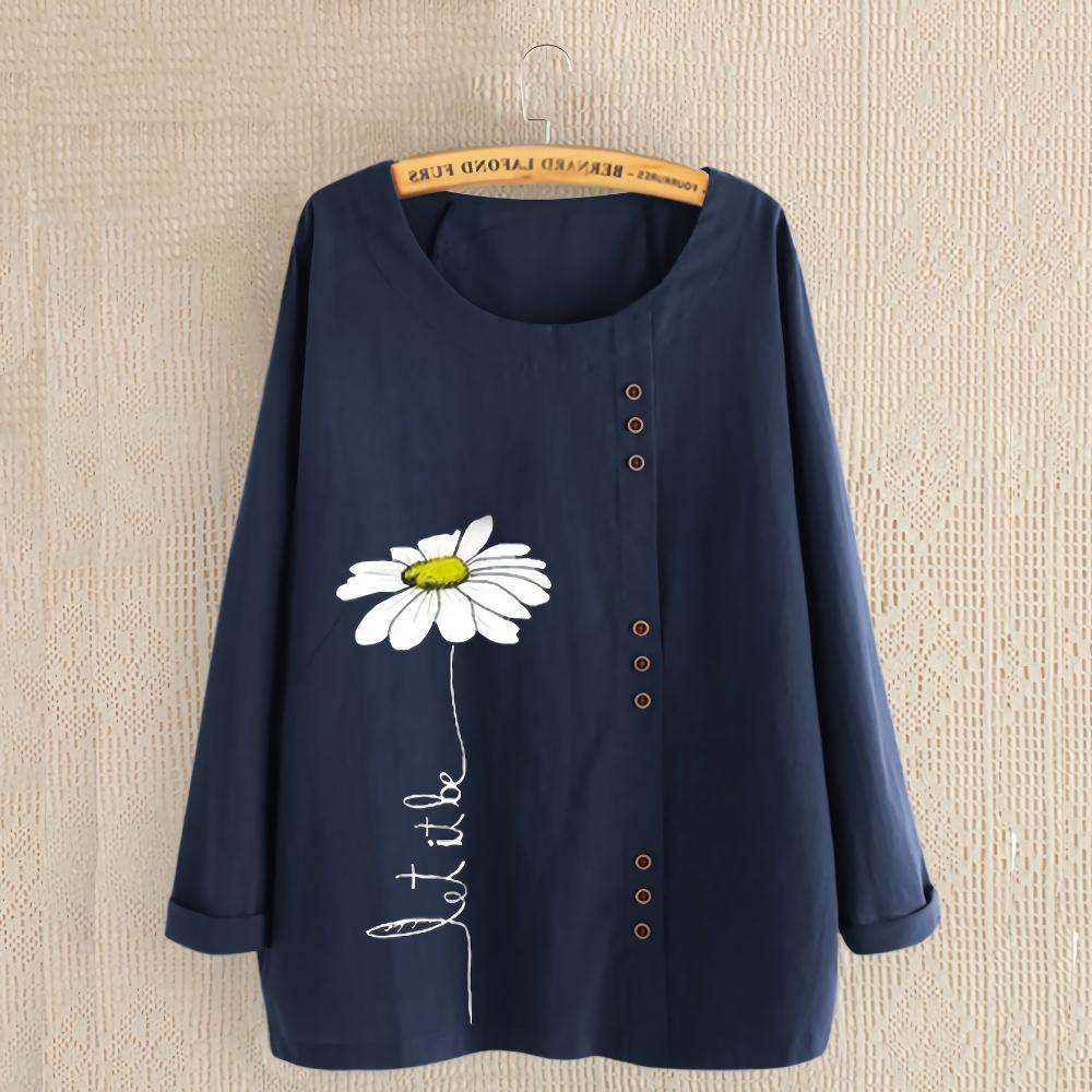 Round Neck Flower Loose Blouse