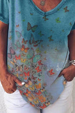 Casual Gradient Colorful Butterfly Print Paneled V-neck Short Sleeves T-shirt
