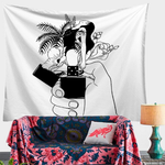 Artistic Black And White Lighter Floral Lady Hand Print Cloth