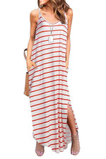 Striped Sling Slit Holiday Maxi Dress