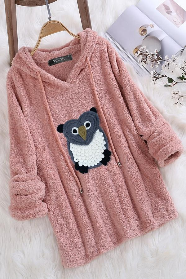 Sweet Cartoon Owl Faux Fur Warm Hoodie