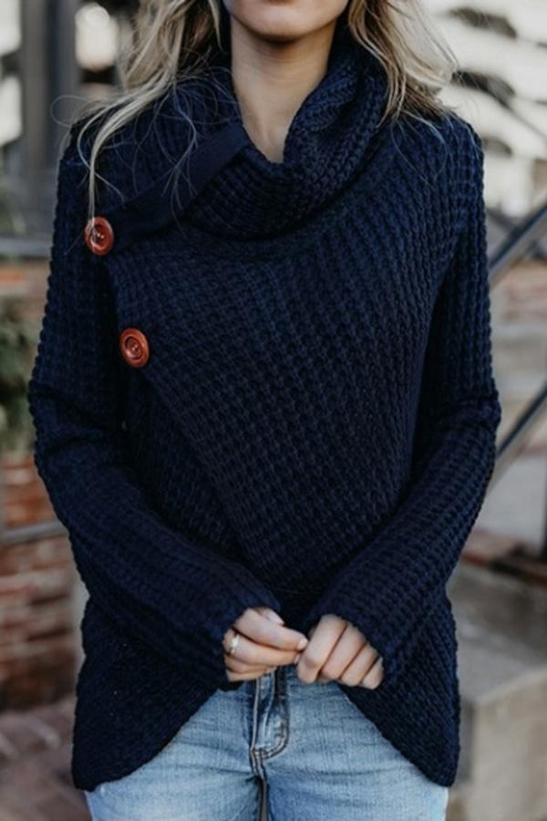 Irregular Button Knitted Cowl Neck Sweaters