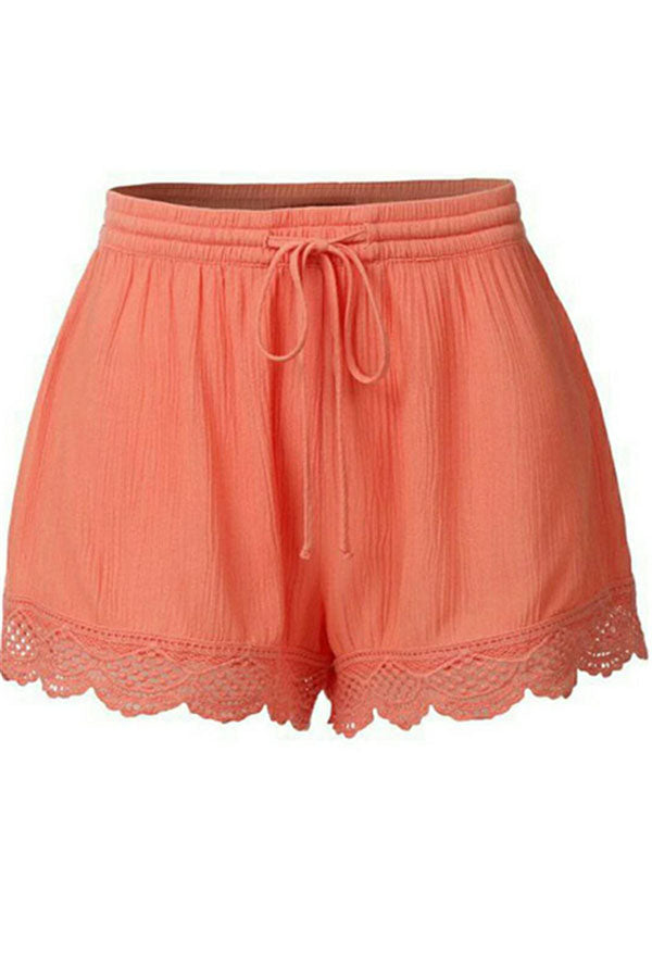 Solid Lace Casual Short Pants