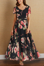 Casual Print Floral Vacation  Maxi Dress