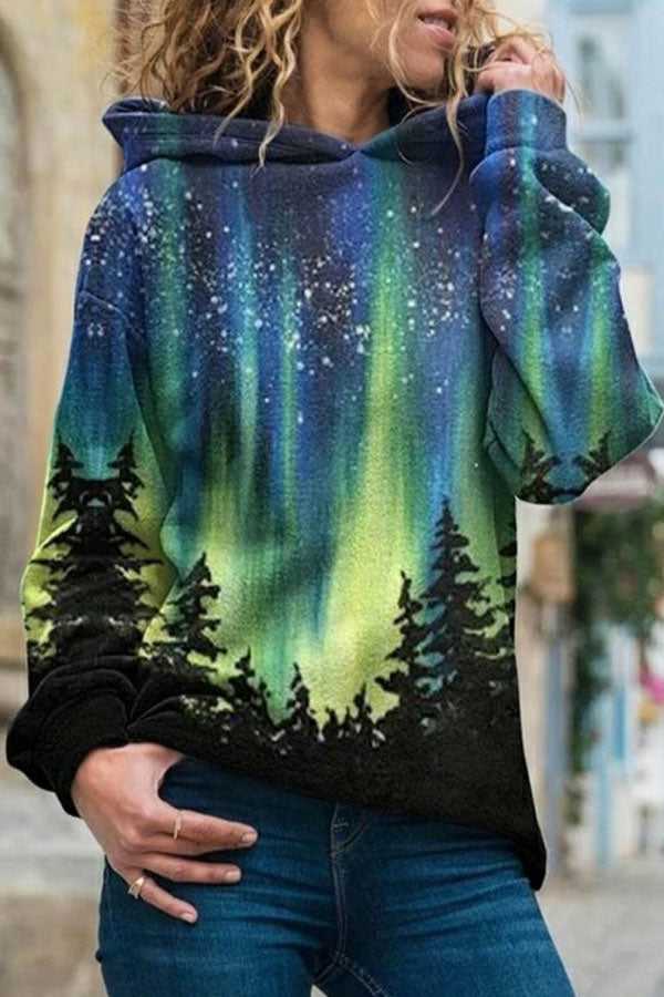 Vintage Fashion Starry Sky Gradient Forest Treetop Nature Landscape Print Hoodie