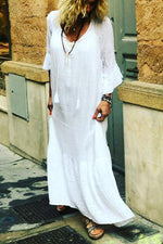 Casual Solid V Neck Ruffle Sleeves Maxi Dress