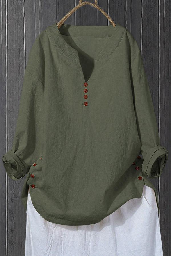 Casual Buttoned Long Sleeves T-shirts