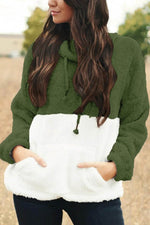 Sweety Solid Fuzzy Drawstring Pile Collar Pocket Front Color Block Holiday Sweatshirt