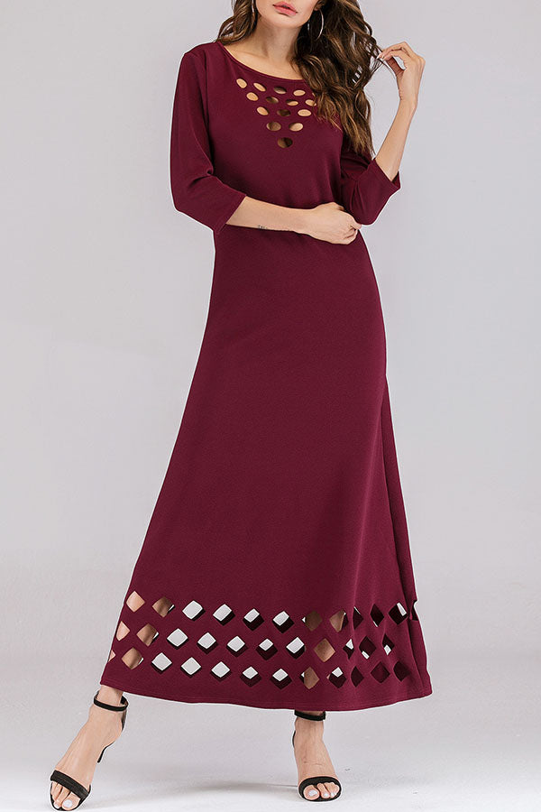 Solid Casual Hollow Round Maxi Dress