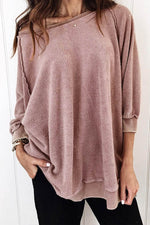 Simple Women Classic Solid Fuzzy Raglan Sleeves Sweatshirt