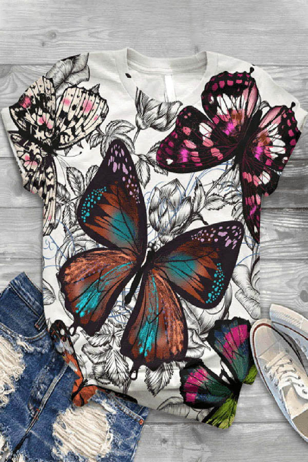 Colorful Butterfly Print Paneled Vintage Crew Neck T-shirt