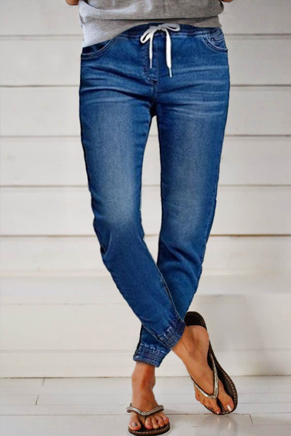 Solid Self-tie Paneled Casual Side Pockets Jeans
