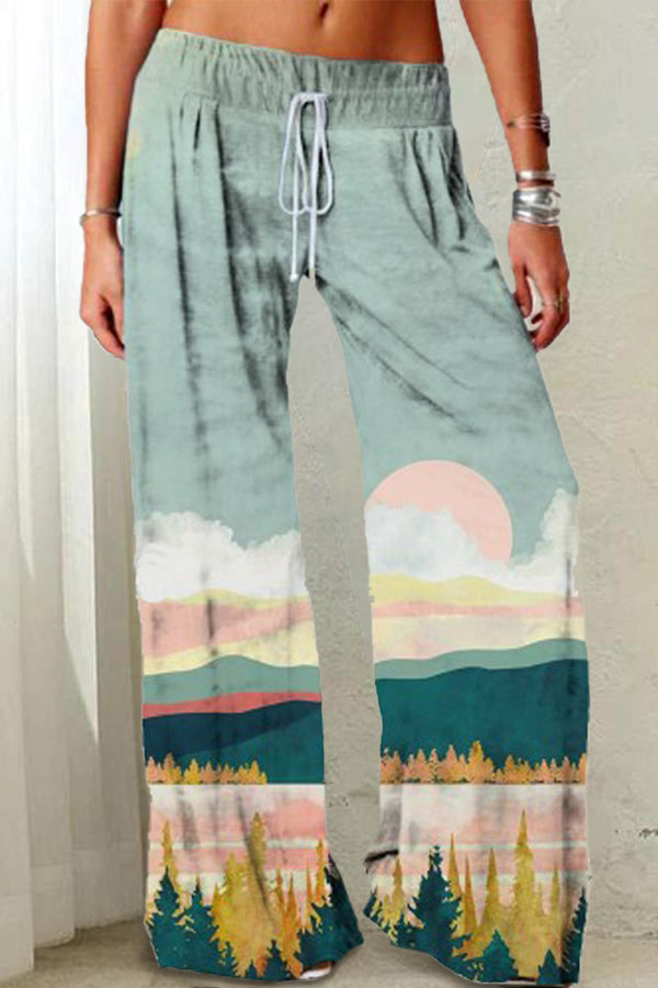 Holiday Treetop Mountain Forest Sun Print Nature Landscape Wide Leg Pants