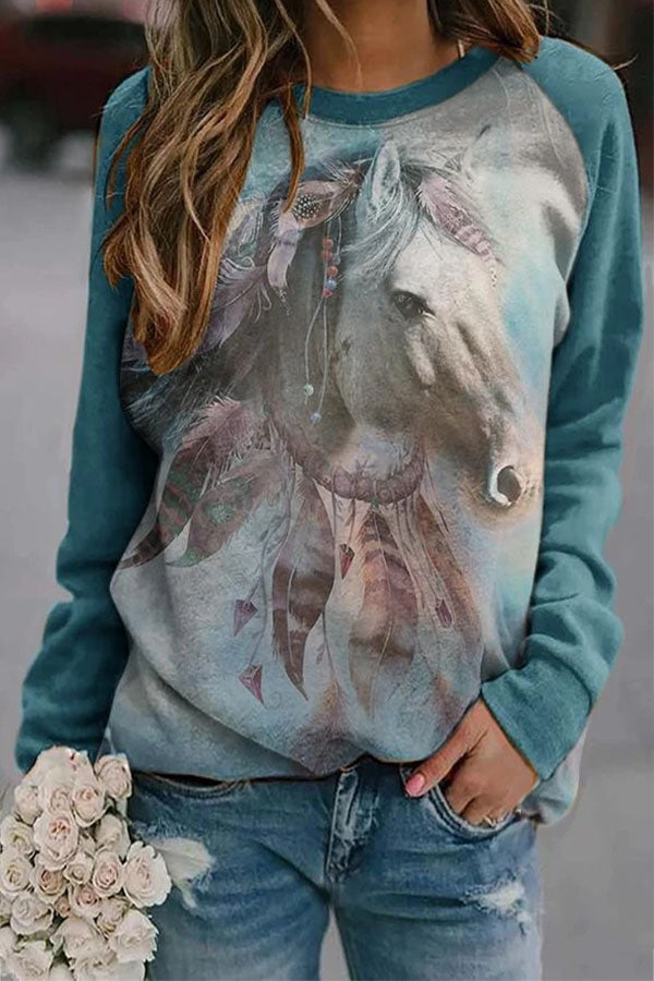 Literary Horse With Feather Decoration Print Raglan Sleeves T-shirt