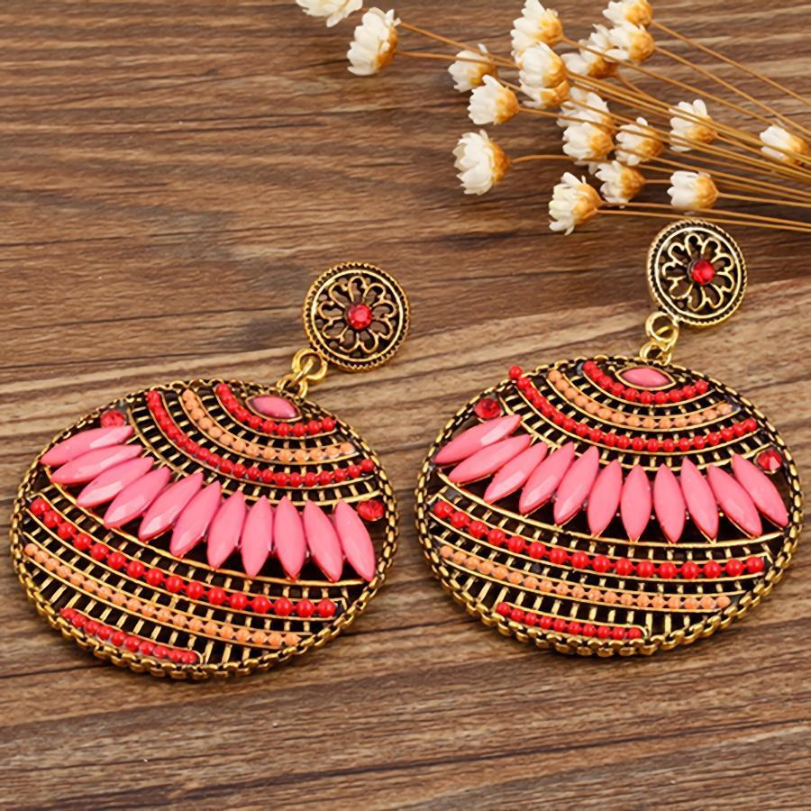 Bohemia Style Round Resin Rhinestone Earrings