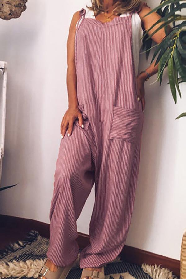 Stripe Print Pockets Loose Jumpsuit