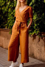 Paneled Solid Cross Front V-neck Casual Jumpsuit