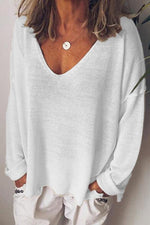 Casual V Neck Long Sleeves Knitted T-shirts