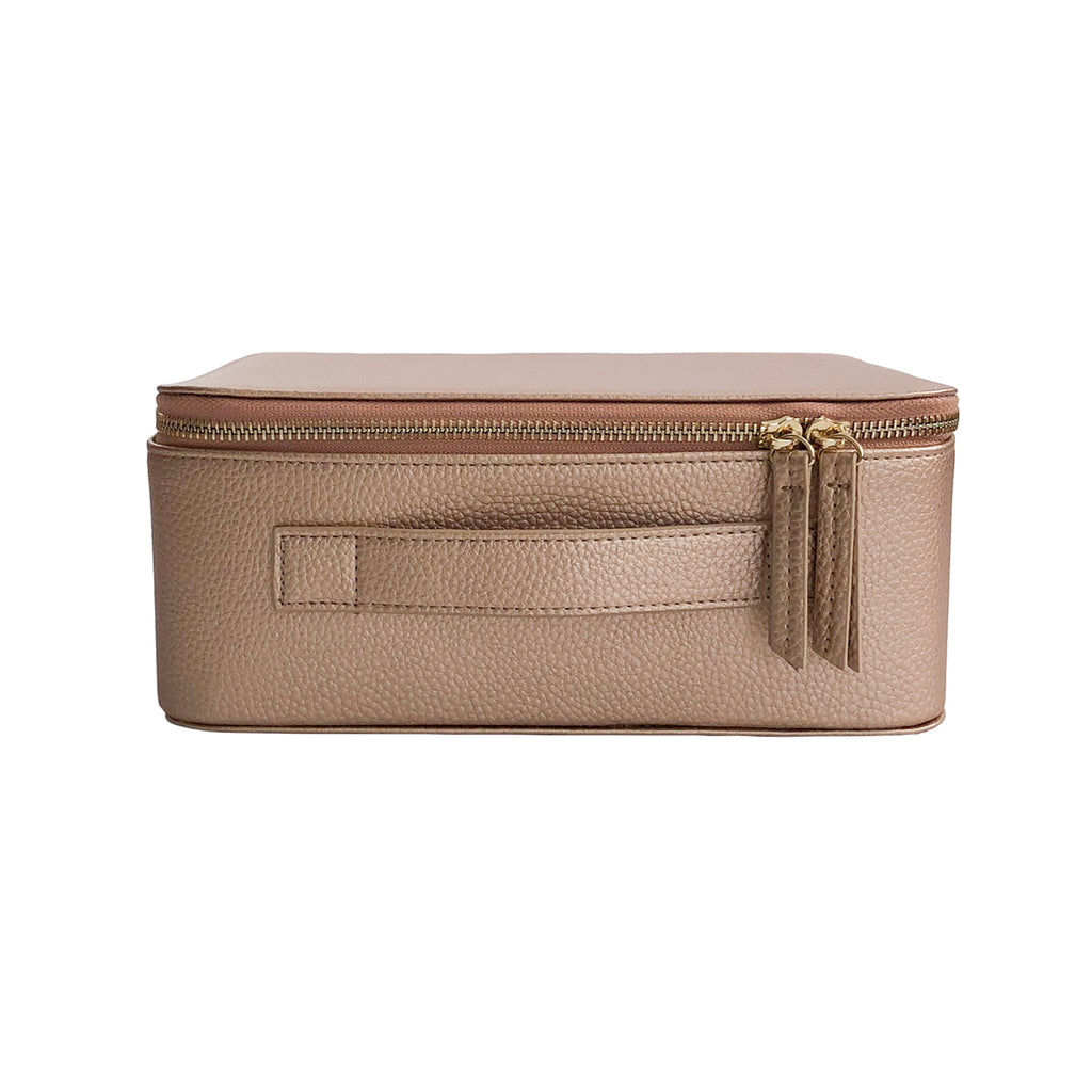 Makeup Bag with Mirror and 3 Pouches - Rose Gold