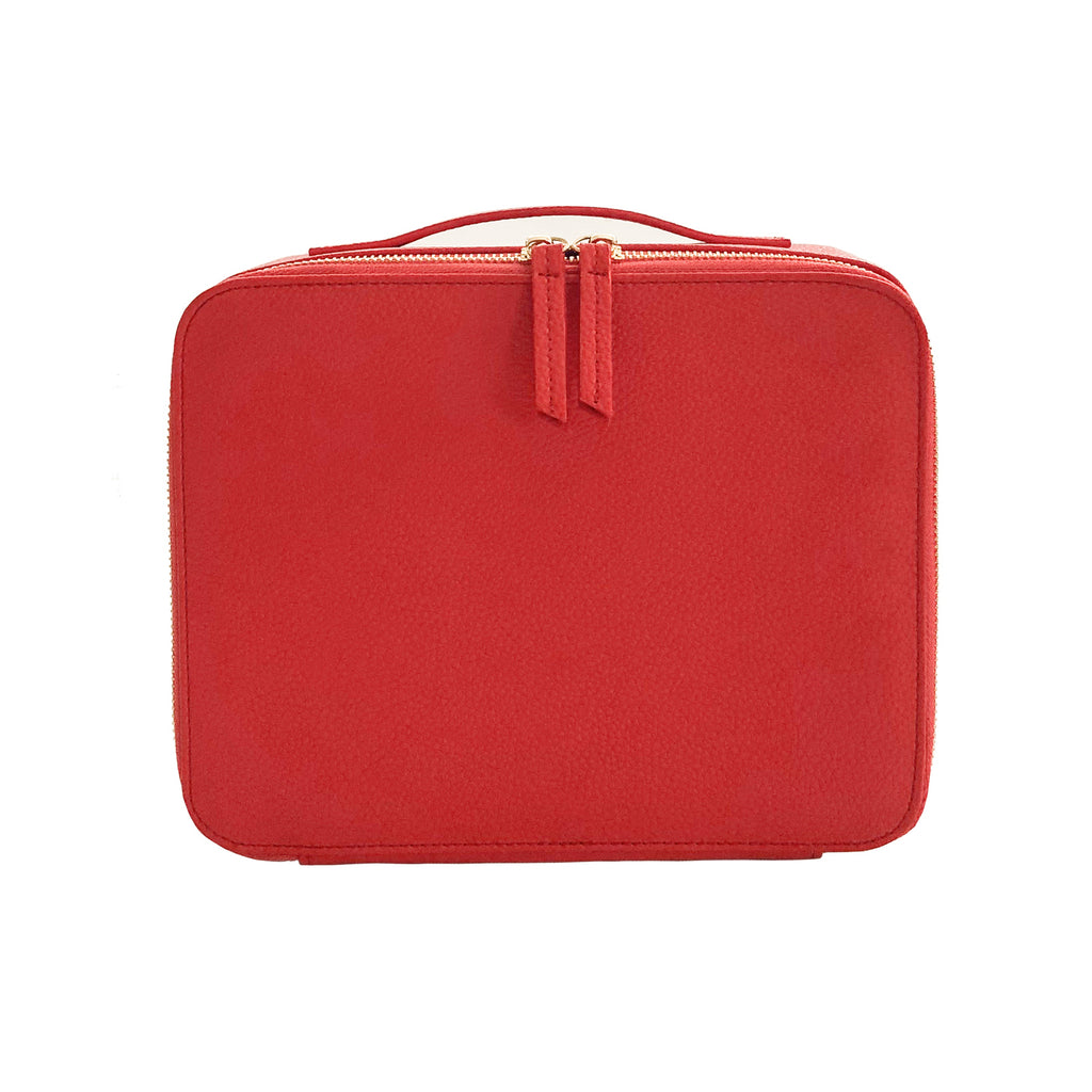 Makeup Bag with Mirror and 3 Pouches - Blood Orange