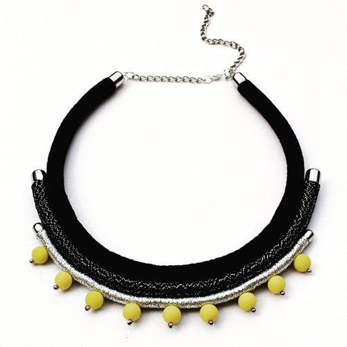 Grey/Yellow Rope Necklace