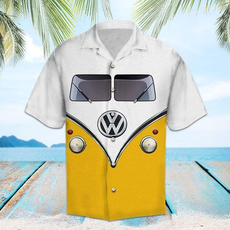Yellow Hippie Bus Hawaiian Shirt | Unisex | Full Size | Adult | Colorful | HW1405
