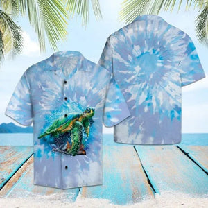 Turtle Blue Tie Dye Hawaiian Shirt | Unisex | Full Size | Adult | Colorful | HW1537