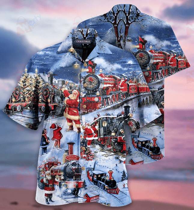 Train To Christmas Hawaiian Shirt | Unisex | Full Size | Adult | Colorful | HW2141
