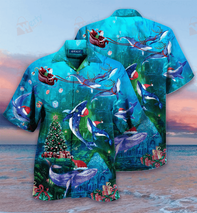 Christmas Whales Under The Sea Hawaiian Shirt | Unisex | Full Size | Adult | Colorful | HW2142