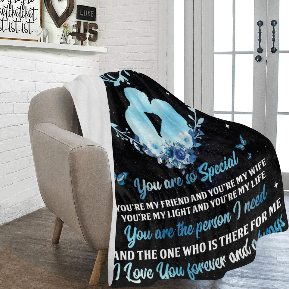 To My Wife You Are So Special Heart Wreath Husband And Wife Butterfly Ultra Soft Cozy Plush Fleece Blanket